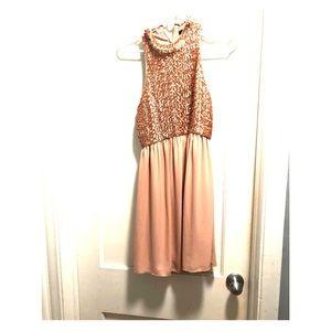 Women's rose gold, short, high-neck sequins dress